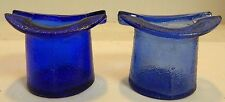 """Vintage Set of (2) Cobalt Blue Glass Top Hat Ashtrays 2.5"""" x 3"""" x 2.5"""" Excellent"""