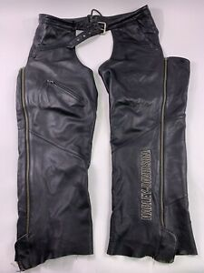 women's Harley Davidson Soft Leather Chaps Black Deluxe 98097-06VW Lined 36 38