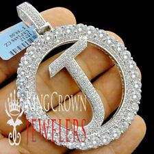 "Real White Gold On Silver Initial Letter Alphabet ""J "" Pendant XL Diamonds Charm"