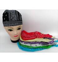 Bandanas de tête couleurs noir 100% Coton  foulard imprimé homme femme biker