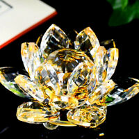 LARGE GOLD/YELLOW Home Lotus Crystal Glass Figure Paperweight Ornament Charm Art