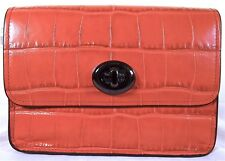 COACH Embossed Croc Deep Coral Leather Turnlock Crossbody Bag 577178