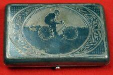 Rare 19th Century Russian Bicycle Society Silver Sterling Niello Cigarette Case