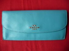Coach Wallet Organizer Long Teal Blue Leather CC Lining