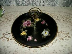 VINTAGE HP ROSES TOLE TRAY BRASS HANDLE PEDESTAL SERVER EARLY MID CENTURY