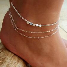 ANKLET ANKLE BRACELET RANGE, Silver Plate, Boho Shabby Chic Cube Bead Jewelry