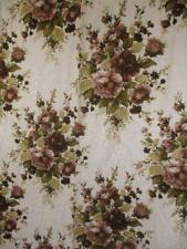 Vintage 1970's Brown Floral Fabric Large Curtain Piece Mid-Century Retro