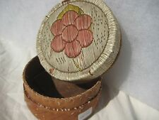 VINTAGE NATIVE AMERICAN QUILL BEADED BIRCH BARK BASKET,  INDIAN BASKET