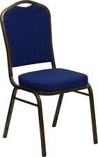 10 PACK Crown Stacking Banquet Chair in Navy Blue Patterned Fabric w/Gold Frame