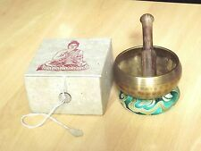 Tibetan Singing Bowl Buddhism Chakra Boxed Gift Set Folding Stick from Nepal