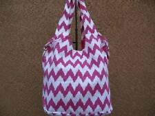 Hot Pink & White Chevron  Canvas Shopper Beach Gym Tote Bag  Handbag  Purse Big