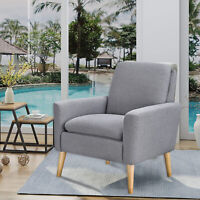 Arm Chair Single Leisure Sofa Accent Linen Fabric Upholstered Living Room Gray