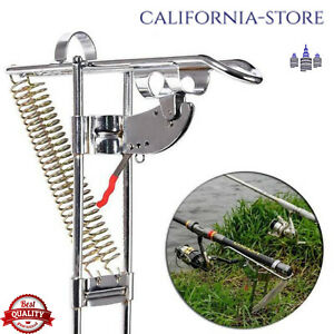 Spring Fishing Rod Holder Automatically Pulls Back Fish Supplys When Detect.