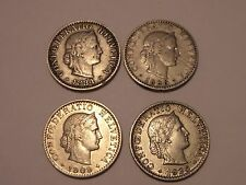 Lot of 4 Confoederatio Helvetica Swiss Coins 1884 1896 1909 & 1926 Was $55