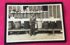 1939 vintage PHOTO garbage duty SWEEP cans MILITARY rubbish BROOMS mess use only