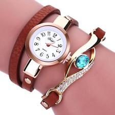 Fashion Womens Ladies Bracelet Crystal Leather Analog Quartz Dress Wrist Watches