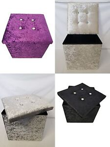 Crushed Velvet Single Folding Storage Ottoman Seat Toys Box Large Pouffee Stool