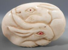 Japan Japanese Bovine Bone Box w/ Double Rabbit Carving Lid Signed ca. 20th c.