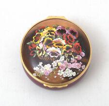 Halcyon Days Enamels Large Enamel Box With Pansies/Floral Decoration