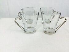 Vitrosax, clear glass, metal handle, espresso mug made in Italy