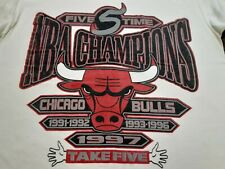 VTG 90s 1997 Chicago Bulls 5 Time NBA Champions Champs T Shirt White L X-Large ?