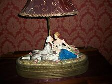 Antique Victorian Figurine TABLE LAMP Porcelain & Brass CARLO MOLLICA ITALY Rare