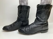 Mens Larry Mahan Western Roper Ostrich Skin Black Boots Size 9.5 Xe