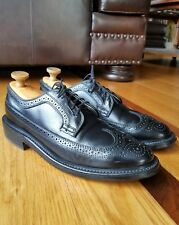Vintage DEXTER Black Pebbled Leather Long Wingtip Oxford Shoe Brogue Sz 9.5D USA