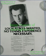 NITF! Vintage NIKE Poster ☆ John McEnroe Lookalikes Wanted ☆ London ☆ VERY FUNNY