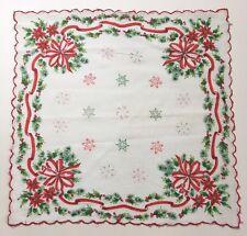 Vintage Holiday Hankie Handkerchief Poinsettia Green Red Scallop Edge