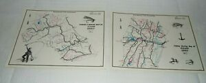 2 1970 PENNA. FISH COMMISSION FISHING-BOATING MAPS OF BEDFORD & CLINTON COUNTY