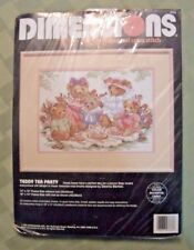 "Vintage 1992 Dimensions Teddy Tea Party 10"" by 14""  Cross Stitch Kit  #1252 S"
