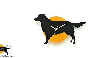 Wagging Tail Golden Retriever Dog - Black & Yellow Silhouette - Wall Clock