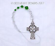 m/w Swarovski Beads Pewter Celtic Cross SunCatcher Car Charm Lilli Heart Designs