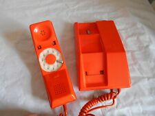 Vintage Telephone Orange Contempra rotary modernist 1970s working order