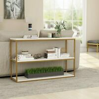 Tribesigns Creamy White Console Sofa Table with Gold Metal Frame for Living Room