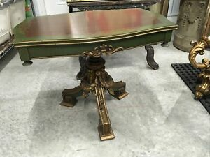 VINTAGE FRENCH STYLE COFFEE END TABLE GESSO ACCENTS 1950's STUNNING