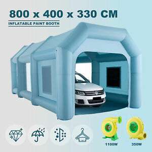 8x4x3.3M Inflatable Paint Booth Spray Booth Tent Car Paint Portable 2 Blowers