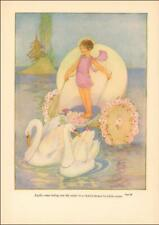 APOLLO MYTHOLOGY, SWANS PULL WATER CHARIOT, Margaret Evans Price, authentic 1949