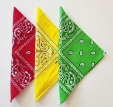 PACK LOT DE 3 Bandanas couleur reggae rasta ROUGE JAUNE VERT 100 % COTON