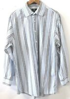 Calvin Klein Jeans Mens Casual Blue Striped Button Down Long Sleeve Shirt Size L
