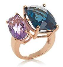 Rarities 14 K Rose Vermeil 20 Carat London Blue Topaz & Amethyst  Ring Sz 6,7