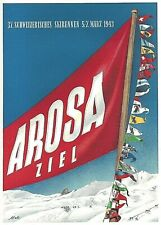 Original vintage poster print AROSA SWISS SKI RACE 1943