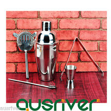 5pcs 550ml Stainless Steel Cocktail Shaker Jigger Strainer Ice Tong Xmas Gift