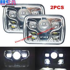 "2x 7x6"" Cree LED Headlights Sealed Beam High & Low Beam Headlamp Assembly Chrome"