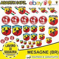 kit 34 Adesivi Abarth Scorpione Assetto Corse Stickers Auto 595 695 124 Fiat Car