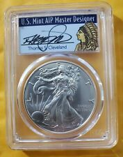 2017 PCGS MS70 SILVER EAGLE FIRST DAY OF ISSUE CLEVELAND SIGNED INDIAN CHIEF