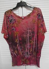 """Women's Knit Top by """"Dressbarn"""" Size: Large, Abstract Multicolors"""