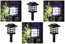 6x White LED Solar Powered Oriental Lantern Garden Path walk Stake Lights 28cm