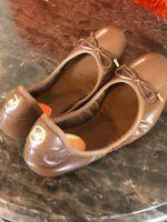 Michael Kors Women's City Brown Leather Ballet Flat Size 7.0